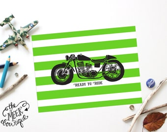 INSTANT DOWNLOAD, Motorcycle Art, Stripes, Ready to Ride, No. 578