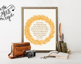 INSTANT DOWNLOAD, Wheat Wreath, Scripture Art, Matthew 9:36-38, Harvest is Plentiful but the Workers are Few, Printable, No. 604