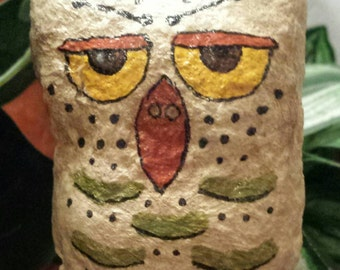 Spun Cotton Owl hanging ornie,  harvest, fall, halloween decor, hand painted