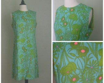 Vintage Blue 1960's Shift Dress.  Floral Print.