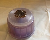 Vintage Antique Powder Wind Up Music Box lavender Plastic Vanity DI Aspen