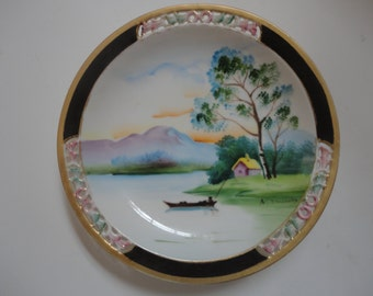 Vintage Hand Painted Scenic River Scene by N. Murrity Chugai China Made in Japan Scenic Wall Plate Gold Gilded Edges River Scenic Scene