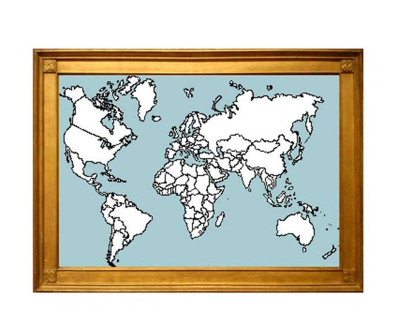 XL World Map Cross Stitch Pattern With Country Map Outlines - Country outlines