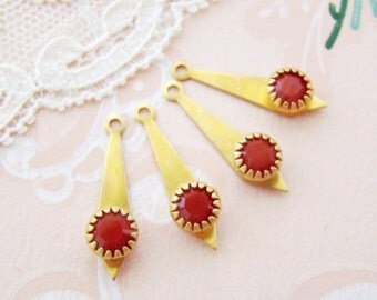 Vintage Swarovski Opaque Red Rhinestone and Brass Art Deco Drops Dangle Findings - 4