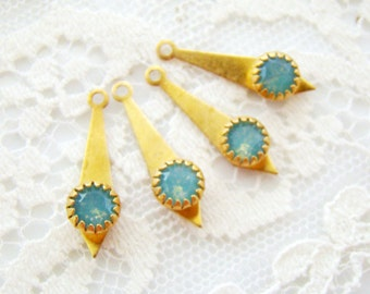 Vintage Swarovski Rhinestone Drops Pacific Opal Rhinestone and Brass Art Deco Dangles Findings - 4