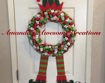 Elf Christmas Ribbon Wreath