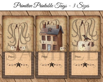 Primitive Printable Price Tags - DIY Printable Tags - Tea Stained - Prim Sheep - Willow Tree - Saltbox House - PDF