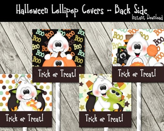 Halloween Lollipop Covers -  DIY Party Favors - Trick or Treat Ghosts