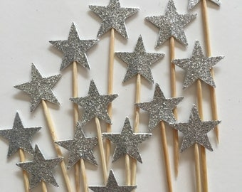 30 Pieces SILVER GLITTER STAR Cupcake Toppers, Bridal Showers, Wedding, Table Decor