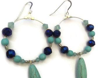 Sale, Hoop Earrings, Funky Earring, Chandelier Earrings, Turquoise Earrings, Gypsy Earrings
