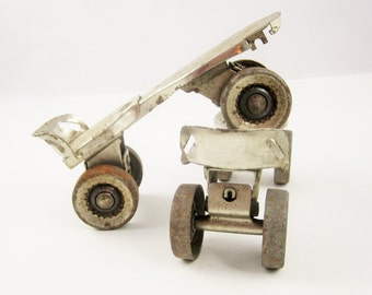 A Great Pair of 'Kingston 612 Clipper' All Steel Roller Skates  - Stripped Down - Great Roller Skating History - Vintage