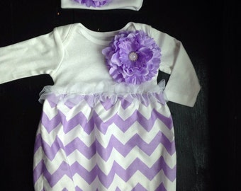 Coming Home Outfit, Going Home Outfit, Layette, Newborn Nightgown, Newborn Dress, Newborn Cap, Baby Headband, Baby Shower Gift