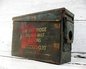 Vintage Military Ammo Can Box  - Craft Hobby Storage - Industrial - Ammo - M60 - Old Paint Chippy