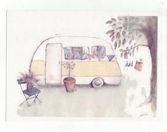 Vintage Caravan Print, A4