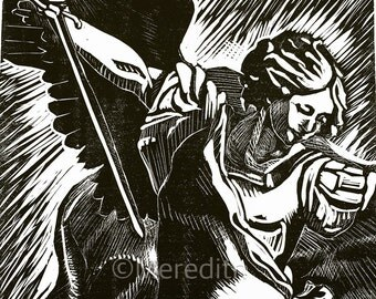 St. Michael Angel - Linocut Original Hand-Pulled Relief Print - 11.5 x 15""