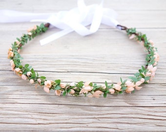Flower Girl Crown, Flower Crown, Peach Bridal Headpiece, Peach Flower Crown, Flower Headdress, Head Wreath, Woodland Crown, Floral Crown