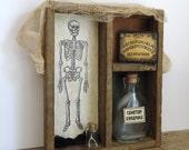 Halloween decor, creepy spooky, haunted house prop, skeleton bones graveyard, Ouija board, spell bottles, one of a kind unique Halloween