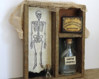 Halloween decor, creepy spooky, haunted house prop, skeleton bones graveyard, Ouija board, spell bottles, one of a kind unique Halloween
