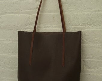 Chocalate brown leather tote