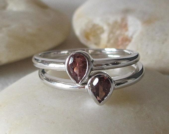 Gemstone Stack Ring- Stack Ring- Midi Ring- Mothers Ring- October Rings- Tourmaline Ring- Birthstone Stack Rings- Ring with Stones- Rings