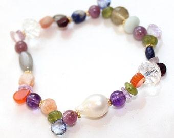 South Sea Pearl Bracelet Rainbow Bracelet Stretch Bracelet Multicolored Bracelet South Sea Pearl Jewelry Fun Bracelet Stacking Bracelet