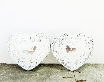 SALE - Vintage Wedding Ring Box - Matching Pair - Little White Heart - Handpainted Metal and Glass