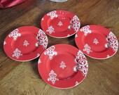 4 Red Waechtersbach Valentine Luncheon Plates Germany