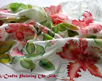Unique Floral hand painted silk scarf. Handmade silk scarf with LIlies. Birthday gift.