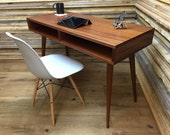 QUICK SHIP-Boxer mid century modern desk featuring sapele mahogany and tapered spindle legs.