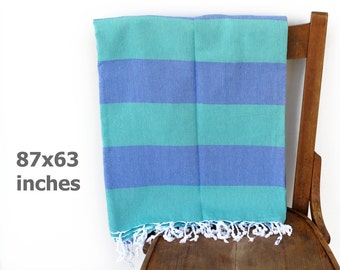 Turkish Blanket Bedspread Bed Linen Bed Sheet Furniture Throw Sofa Throw Tablecloth Turkish Throw SEASIDE Green BLUE XX Large 160 x 220 cm