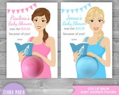 EOS Baby Shower Favors - Printable Favor Tags - Pregnant Mother with a book and baby bottle -Personalized Thank you favors
