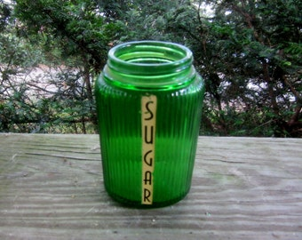 forest green lined sugar shaker with decal