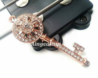 Rose Gold  Key Charm Skeleton Key Pendant with Crystal Rhinestones