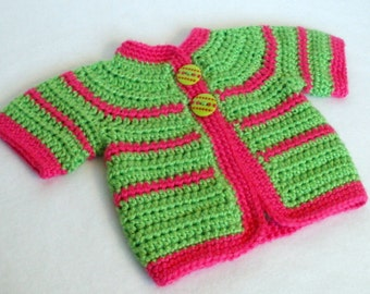 Crocheted Baby Girl's Sweater Baby Sweater Crochet Baby Sweater