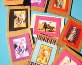 Any 3 Cards for 5 Dollars: Handmade Rustic Dimensional Vintage-Style Cowgirl Greeting Cards with Envelopes  (Set E)