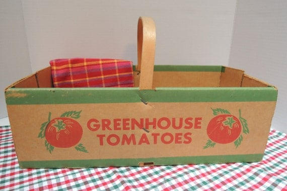 Tomato Box, Cardboard, Fruit box, Vegetable box, Drollinger, Cleveland, Ohio, Advertising, Vintage
