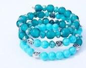 Boho turquoise wrap bracelet, Crystal beaded bracelet,  Triple wrap, Gifts for her