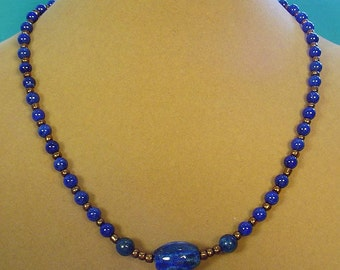 """Incredible 18"""" Lapis Lazuli Necklace will make you feel like ROYALTY! - N443"""