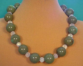 "22"" Necklace of sparkling Glass with Olive Green Porcelain focals - N463"