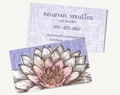 250+ Lotus Zen Yoga PRINTED Business Cards - WHITE LOTUS Flower  - Yoga Business Card- Massage - Spiritual - Therapist Card