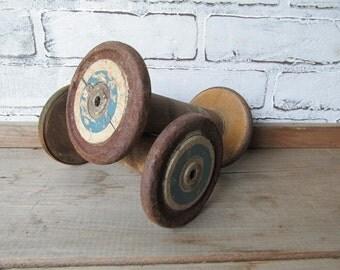 Vintage Wooden Spool Blue Rim Wood Spool Primitive Rustic Decor