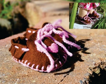 Waldorf Doll Shoes, Hearts, Moccasins, Doll Shoes