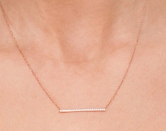 Pave Bar Gold or silver Pave ,sterling silver all vermeil bar necklace 14k filled