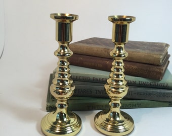 BALDWIN Brass Candle Holders, Set of Two Mid century Solid Brass Candlesticks / Short Brass Candleholders Modern