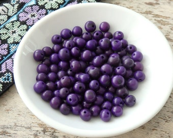 Natural acai beads in PURPLE - 100 beads, natural seed beads from the Amazon, Brazilian seed beads, nature beads, eco friendly beads