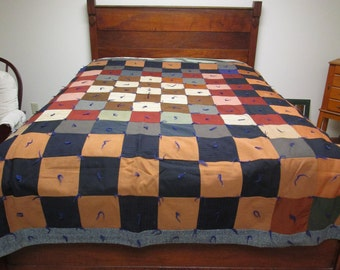 "Vintage Knotted Quilt Patchwork Pieced Blanket Comforter 76"" x 78"""