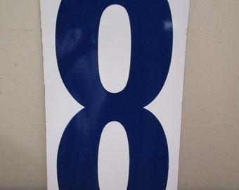 """HUGE 24"""" Vintage Porcelain Number 8 & 9  Two Sided Sign Number EIGHT NINE Sign Old Gas Station Number Blue White Panel"""