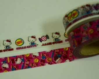 2 Rolls Hello Kitty Japanese Anime Washi Paper Tapes