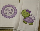 Set of 2 Baby Burp Cloths with Monogram Applique and Turtle Designs