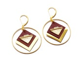 Leather earrings necklace, graphic, ring and square, new